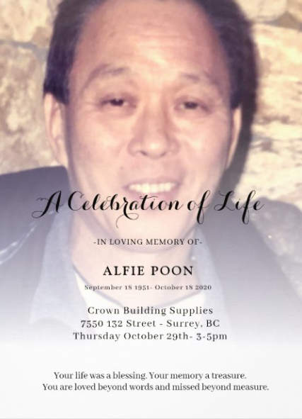 Alfie Poon – Celebration of Life