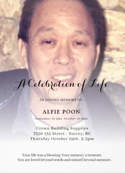 Alfie Poon – Celebration of Life